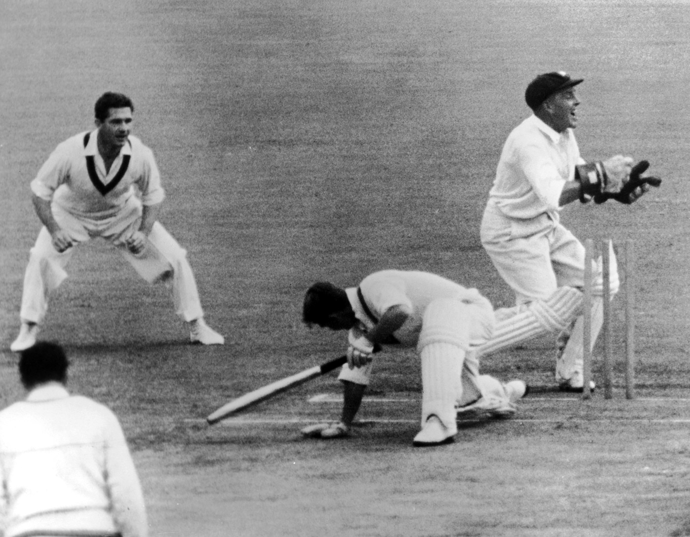 Sydney Test, 1959: Wally Grout attempts to stump Roy Swetman, who survived a dropped catch off Slater