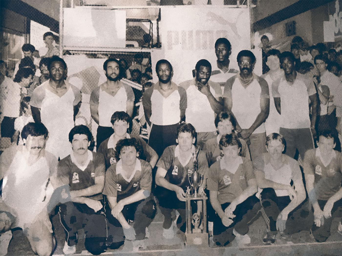 The West Indians and the Western Australia indoor cricket players in Perth in 1984