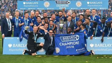 Leicester City celebrate their Premier League triumph