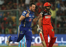 Mitchell McClenaghan is jubilant after dismissing Virat Kohli, Royal Challengers Bangalore v Mumbai Indians, IPL 2016, Bangalore, May 11, 2016