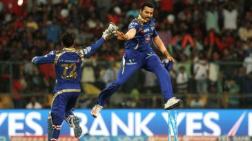 Rohit Sharma leaps for joy after running Shane Watson out