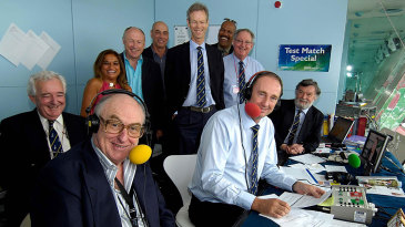 The Test Match Special team celebrates its 50th anniversary