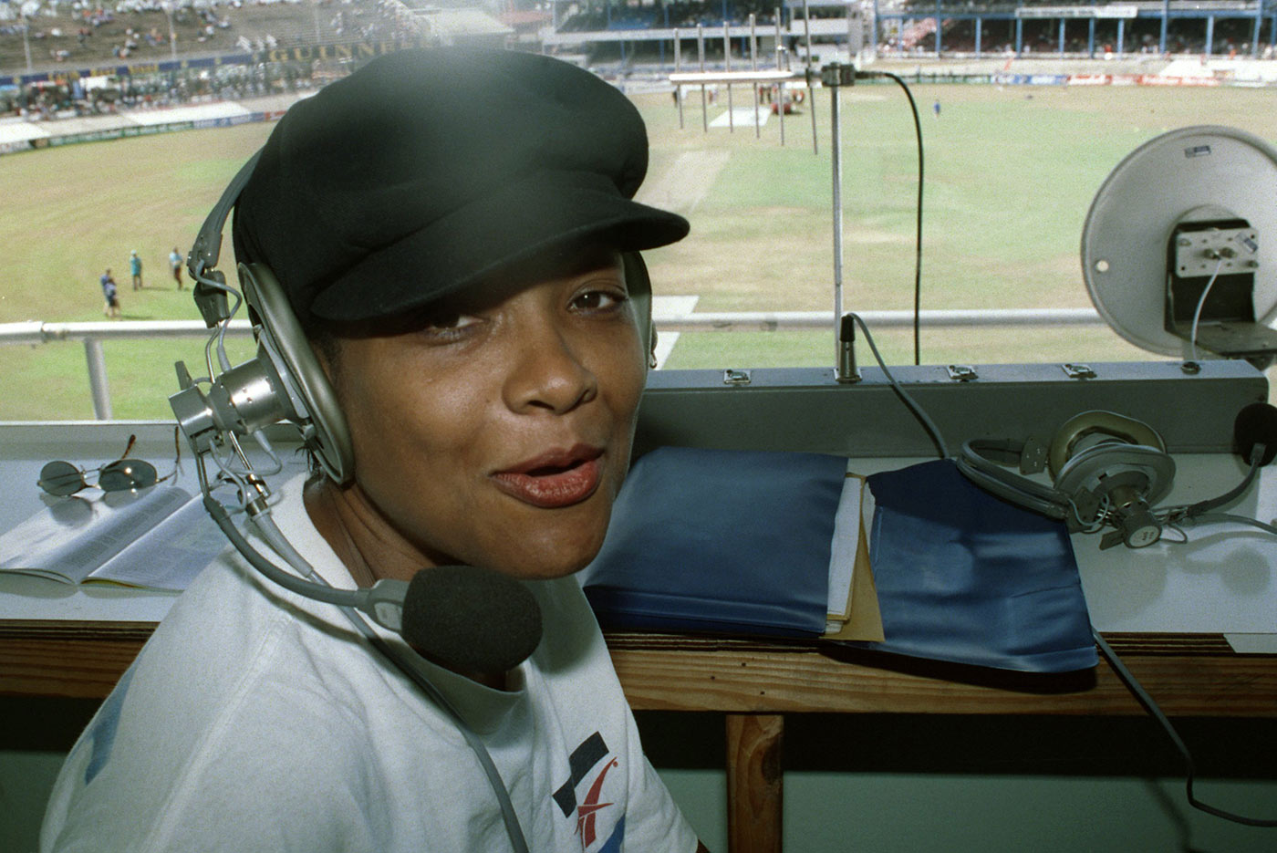 Donna Symmonds in the box at the Queen's Park Oval in 1998