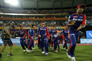JP Duminy leads his team out, Sunrisers Hyderabad v Delhi Daredevils, IPL 2016, Hyderabad, May 12, 2016