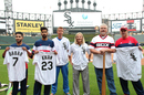 USA's Fahad Babar and Ali Khan join former Chicago White Sox player Ron Kittle and ICC coaches Graeme West, Cathryn Fitzpatrick and Mike Young for a demo at US Cellular Field, Chicago, May 12, 2016