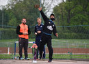 Moeen Ali tries out the discus, Loughborough, May 13, 2016