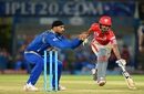 Wriddhiman Saha makes his ground even as Harbhajan Singh tries to run him out, Mumbai Indians v Kings XI Punjab, IPL 2016, Visakhapatnam, May 13, 2016
