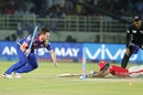 Mitchell McClenaghan uproots the stumps as he tries to run Wriddhiman Saha out, Mumbai Indians v Kings XI Punjab, IPL 2016, Visakhapatnam, May 13, 2016