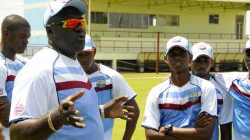 Roddy Estwick talks to the West Indies Under-19s team