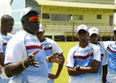 Roddy Estwick talks to the West Indies Under-19s team, Guyana, October 7, 2013