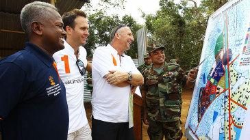 Kushil Gunasekera (far left) with Michael Vaughan and Ian Botham who are in Sri Lanka on behalf of Laureus