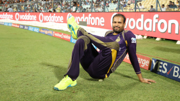 Yusuf Pathan stretches in the outfield