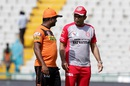 Legends catch up - Muttiah Muralitharan and Virender Sehwag have a word, Kings XI Punjab v Sunrisers Hyderabad, IPL 2016, Mohali, May 15, 2016
