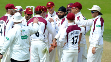 Monty Panesar celebrates his first wicket