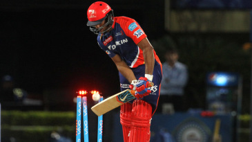 Mayank Agarwal plays onto his stumps