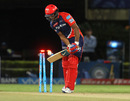 Mayank Agarwal plays onto his stumps, Mumbai Indians v Delhi Daredevils, IPL 2016, Visakhapatnam, May 15, 2016