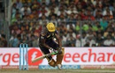 Andre Russell loses balance as he tries to play one, Kolkata Knight Riders v Royal Challengers Bangalore, IPL 2016, Kolkata, May 16, 2016