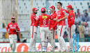 Kyle Abbott is congratulated for the wicket of Kevin Pietersen, Kings XI Punjab v Rising Pune Supergiants, IPL 2016, Mohali, April 17, 2016
