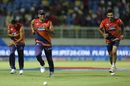 Usman Khawaja, MS Dhoni and Irfan Pathan share a laugh during warm-up, Rising Pune Supergiants v Delhi Daredevils, IPL 2016, Visakhapatnam, May 17, 2016