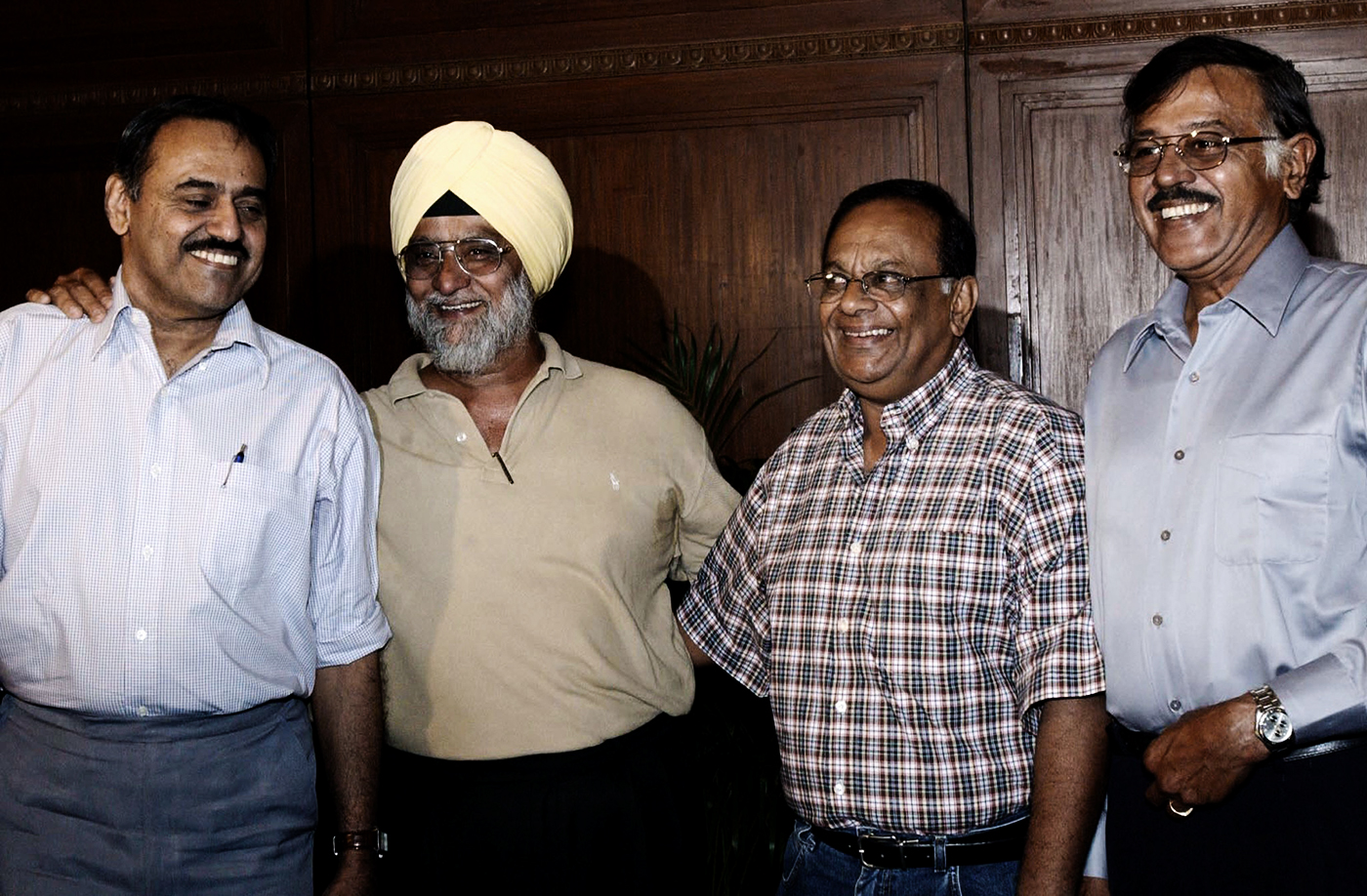 Bhagwath Chandrasekhar, Bishan Bedi, Erapalli Prasanna and Srinivas Venkataraghavan pose during a spinners' meet in Kolkata