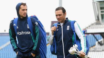 Alex Hales chats to England's batting coach, Mark Ramprakash