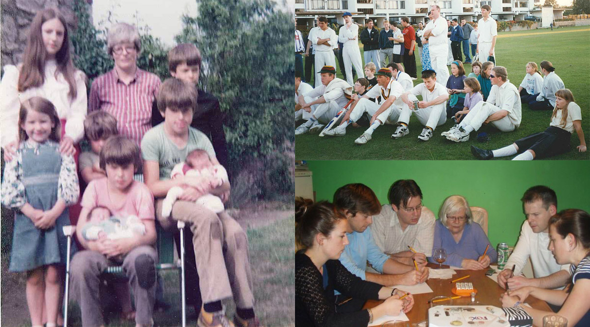 Clockwise from left: Eight of the nine Joyce children with mum Maureen; at Merrion Cricket Club: Ed, sitting holding trophy, Isobel in green hairband, next to Cecelia (partly obscured), and Damian (standing behind them holding bags); Christmas circa 2008: (from left) Cecelia, Ed, Gus, Maureen, Dom and Isobel