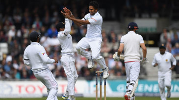 Dasun Shanaka celebrates his first Test wicket