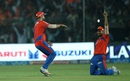 Shadab Jakati is ecstatic after firing a direct throw to run Gautam Gambhir out, Gujarat Lions v Kolkata Knight Riders, IPL 2016, Kanpur, May 19, 2016