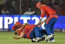 Shadab Jakati, Suresh Raina and Aaron Finch celebrate Gautam Gambir's run out, Gujarat Lions v Kolkata Knight Riders, IPL 2016, Kanpur, May 19, 2016