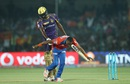 Jason Holder gently pushes Dwayne Bravo away after the bowler tries to get cheeky with him, Gujarat Lions v Kolkata Knight Riders, IPL 2016, Kanpur, May 19, 2016