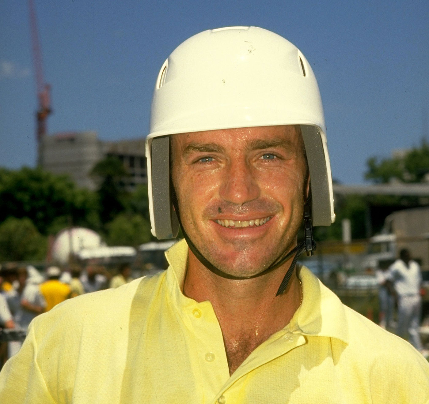 Greg Matthews wears a crash helmet