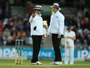 Aleem Dar and Rod Tucker check the light metres, England v Sri Lanka, 1st Test, Headingley, 2nd day, May 20, 2016