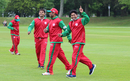 Noorul Riaz celebrates a goal during warm-ups, Jersey v Oman, ICC World Cricket League Division Five, St Saviour, May 21, 2016