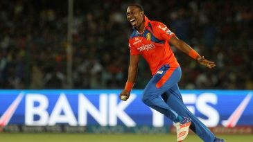 Dwayne Bravo is ecstatic after picking up a wicket