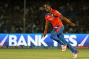 Dwayne Bravo is ecstatic after picking up a wicket, Gujarat Lions v Mumbai Indians, IPL 2016, Kanpur, May 21, 2016