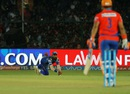 Krunal Pandya's dive goes in vain as the ball drops short of him, Gujarat Lions v Mumbai Indians, IPL 2016, Kanpur, May 21, 2016