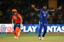 Vinay Kumar successfully appeals for the wicket of Aaron Finch, Gujarat Lions v Mumbai Indians, IPL 2016, Kanpur, May 21, 2016