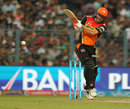 David Warner slaps a length delivery through midwicket, Kolkata Knight Riders v Sunrisers Hyderabad, IPL 2016, Kolkata, May 22, 2016