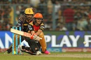 David Warner attempts a reverse sweep, Kolkata Knight Riders v Sunrisers Hyderabad, IPL 2016, Kolkata, May 22, 2016