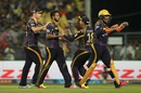 Shakib Al Hasan celebrates the wicket of Yuvraj Singh with teammates, Kolkata Knight Riders v Sunrisers Hyderabad, IPL 2016, Kolkata, May 22, 2016