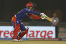 Quinton de Kock reaches out for a cut, Delhi Daredevils v Royal Challengers Bangalore, IPL 2016, Raipur, May 22, 2016