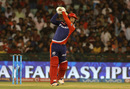 Quinton de Kock hits down the ground, Delhi Daredevils v Royal Challengers Bangalore, IPL 2016, Raipur, May 22, 2016