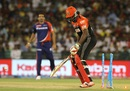 Chris Gayle is bowled after chopping one on to the stumps, Delhi Daredevils v Royal Challengers Bangalore, IPL 2016, Raipur, May 22, 2016