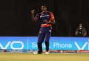 Carlos Brathwaite is thrilled after dismissing KL Rahul, Delhi Daredevils v Royal Challengers Bangalore, IPL 2016, Raipur, May 22, 2016
