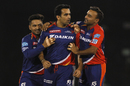Zaheer Khan is mobbed after removing AB de Villiers cheaply, Delhi Daredevils v Royal Challengers Bangalore, IPL 2016, Raipur, May 22, 2016