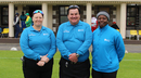 Sue Redfern (l) and Jacqueline Williams (r) served as standing and third umpire respectively, the first time two women officiated in a men's ICC tournament match, Nigeria v Oman, ICC World Cricket League Division Five, St Clement, May 22, 2016