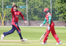 Anthony Hawkins-Kay celebrates the wicket of Khawar Ali, Jersey v Oman, ICC World Cricket League Division Five, St Saviour, May 23, 2016