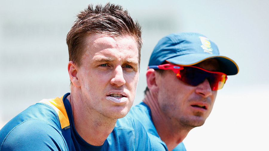 Morne Morkel and Dale Steyn take a break at training