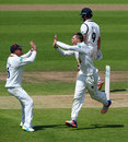 Brydon Carse celebrates removing Jonathan Trott, Warwickshire v Durham, County Championship, Division One, Edgbaston, 3rd day, May 24, 2016