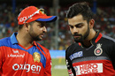 Suresh Raina has a word with Virat Kohli prior to the toss, Gujarat Lions v Royal Challengers Bangalore, IPL 2016, Qualifier 1, Bangalore, May 24, 2016
